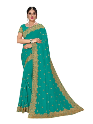Aqua blue embroidered pure georgette saree with blouse