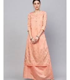 Peach gold printed kurta set with skirt
