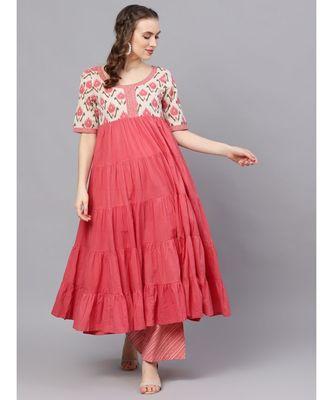 Pink Ikat Printed Tiered Anarkali