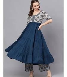 Blue & Grey Ikat Printed Tiered Anarkali
