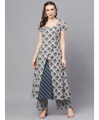 Grey & Blue Ikat Printed Layered Kurta