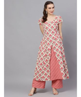 Pink & Cream Ikat Printed Layered Kurta