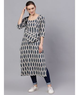 Grey & Blue Ikat Printed Straight Kurta With Pouch