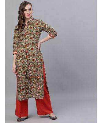 Green & Red Kalamkari Floral Printed Pathani Kurta