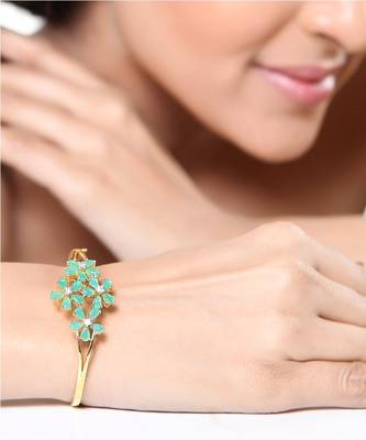 Emerald and CZ Gold Plated Bracelet