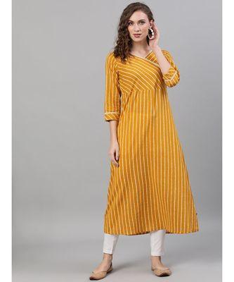 Mustard & White Striped Printed A-Line Kurta