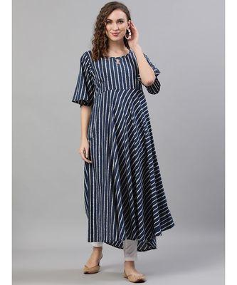 Navy Blue & White Striped Printed Flared Anarkali
