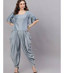 Pastel Blue Chinon Design Top With Dhoti Pant
