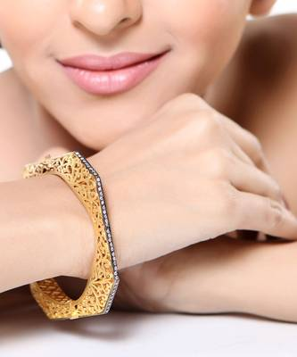 Channel Set CZ and Gold Plated Designer Bracelet