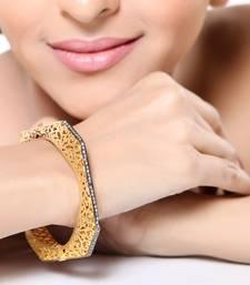 Buy Channel Set CZ and Gold Plated Designer Bracelet bangles-and-bracelet online