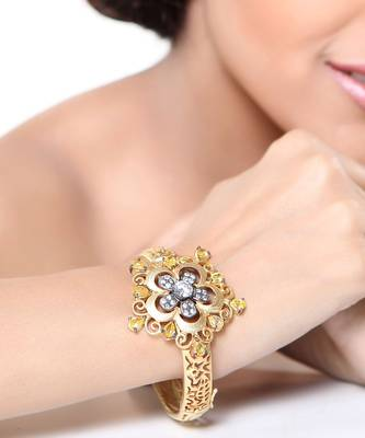 Yellow Onyx,CZ Gold Plated Floral Cuff Bracelet