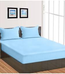 Cotton Satin Stripe 210 Tc Super Queen Bedsheet with 2Pc Pillow Cover 228 cm X274 cm