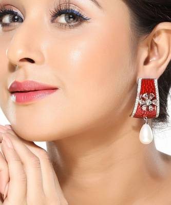 Red Enamel , CZ and Pearl Fashion Earrings