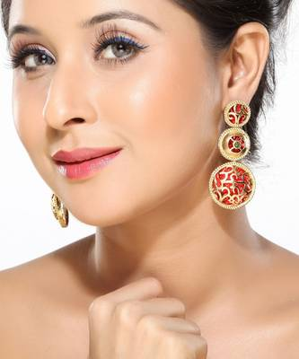 Enamel and Gold plated Alloy Metal Hanging Earrings