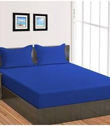 Cotton Satin Stripe 210 Tc Super King Bedsheet with 2Pc Pillow Cover 274 cm X274 cm