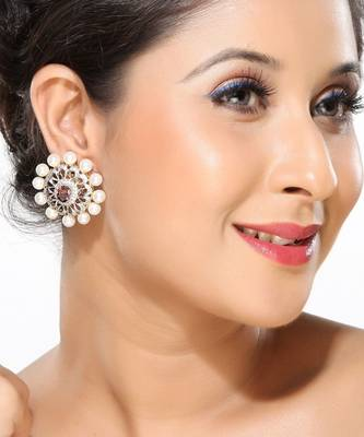 Pearl and CZ Flower Earrings