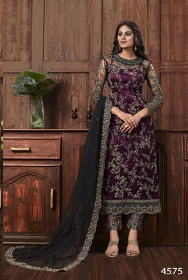 Wine Color Heavy Vaishanavi Net With Embroidery Cording Work Salwar kameez Dress With Heavy Duppata Work Suit