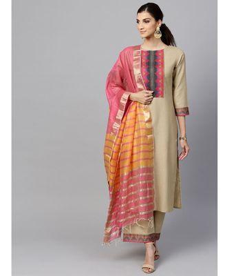 Indo Era Beige Solid Straight Kurta Sets