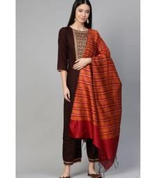 Indo Era Brown Solid Straight Kurta Palazzo with Dupatta Set