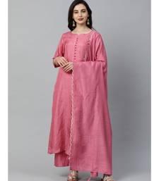 Indo Era Pink Solid Kurta Palazzo with Dupatta Set