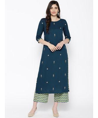 Indo Era Teal Green Embroidered Kurta Sets
