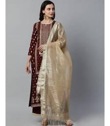 Indo Era Maroon Foil Printed Straight Kurta with Palazzo Set