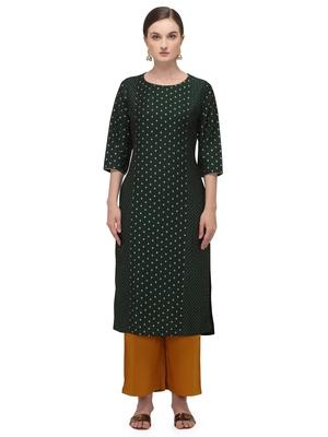 FIORRA Green Printed Muslin Silk Straight Long Kurtis