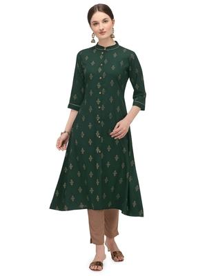 FIORRA Green Printed Rayon Cotton A-line Long Kurtis