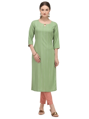 FIORRA Pista Green Printed Rayon Cotton Straight Long Kurtis