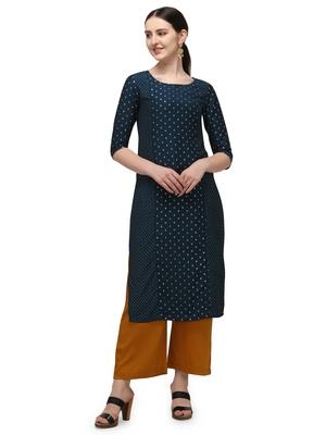 FIORRA Blue Gold Printed Muslin Silk Straight Long kurti
