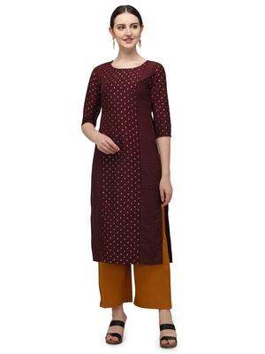 FIORRA Maroon Gold Printed Muslin Silk Straight Long kurti