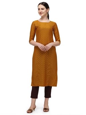FIORRA Mustard Printed Muslin Silk Straight kurti