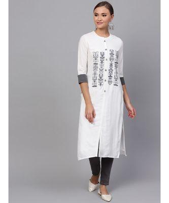Indo Era White embroidered Straight Kurta