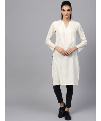 Indo Era white Solid Straight Kurta