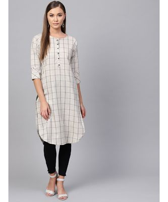 Indo Era Grey south cotton Saga Curved Kurta
