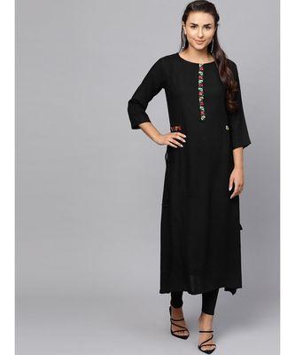 Indo Era Black Embroidered A-Line Kurta