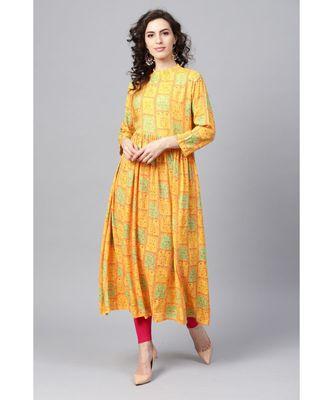 Indo Era Yellow Printed Anarkali Kurtas