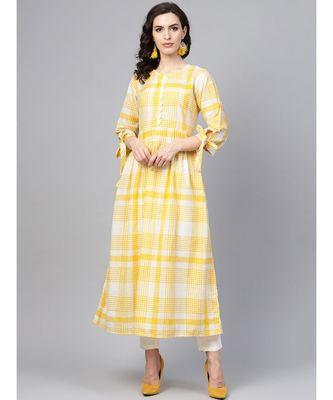Indo Era Yellow Woven Design A-Line Kurtas
