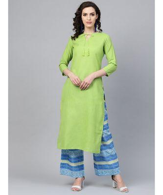 Indo Era Green Solid Straight Kurtas