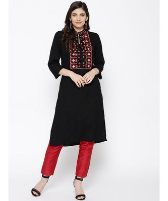 Indo Era Black Embroidered Straight Kurtas
