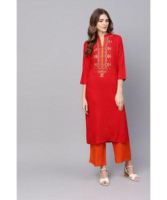 Indo Era Red Embroidered Straight Kurtas