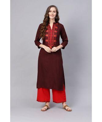 Indo Era Brown Embroidered Straight Kurtas