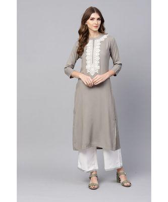 Indo Era Grey Embroidered Straight Kurtas