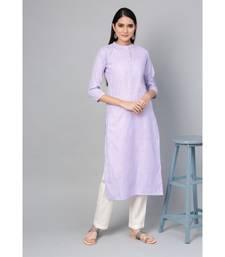 Indo Era Magenta Striped Straight Kurtas
