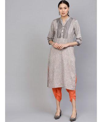 Indo Era Grey Embellished Straight Kurtas