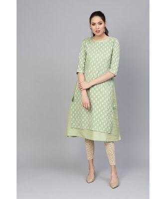 Indo Era Sea Green Solid A-Line Kurtas