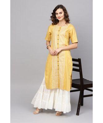 Indo Era Yellow Embroidered Straight Kurtas