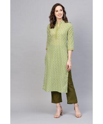 Indo Era Green Printed Straight Kurtas