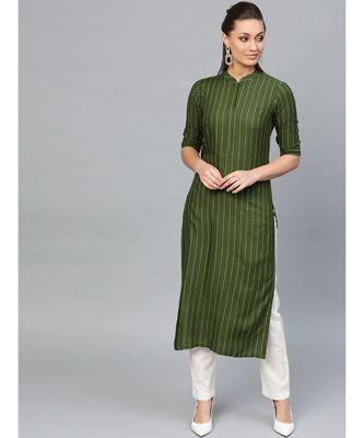 Indo Era Green Striped Straight Kurtas