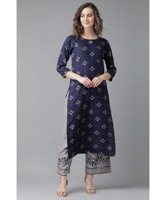 Indo Era Blue Printed Straight Kurtas